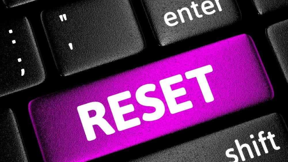 reset key displayed on a keyboard