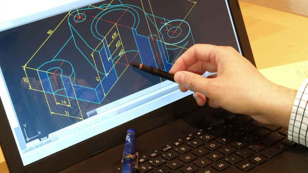 designer working on a cad blueprint
